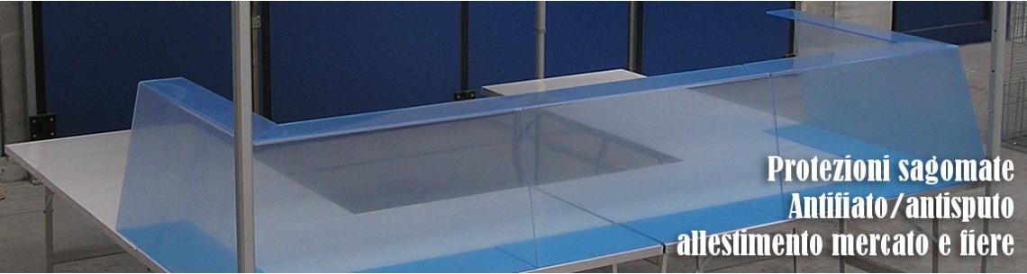 Protezione antifiato e antisputo in plexiglass sagomata